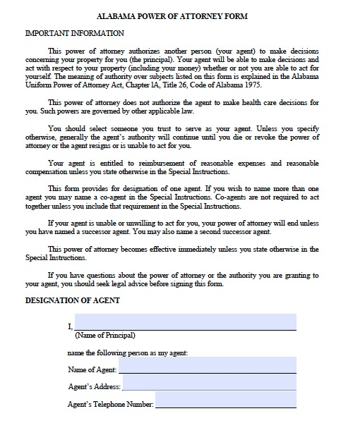 Free Alabama Durable Power of Attorney Forms and Templates – Sample Durable Power of Attorney Form