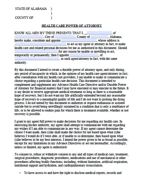 Free Alabama Medical Power of Attorney Forms and Templates – Sample Durable Power of Attorney Form