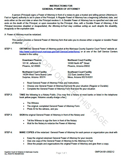 Free Arizona Durable General Power Of Attorney Form | Template