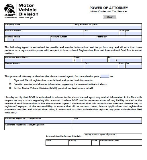 power of attorney form az mvd  Free Arizona MVD Power of Attorney Form | Template