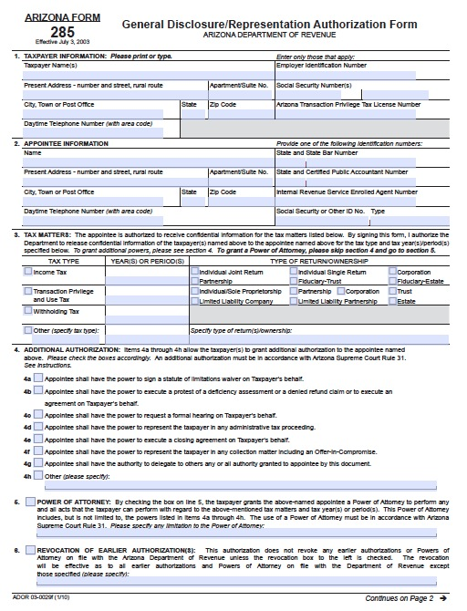 Free Arizona Tax Power Of Attorney Form 285