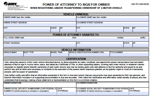 Free Arkansas Department Of Motor Vehicles Dmv Power Of Attorney Form