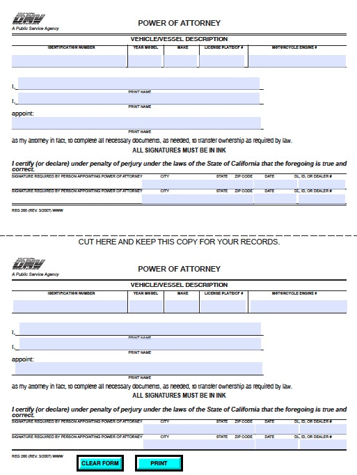 Free California Department Of Motor Vehicles Dmv Poa Form