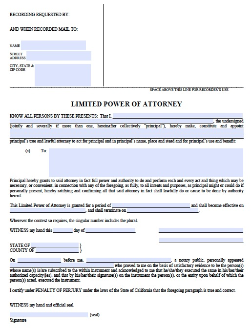 Free California Limited Power Of Attorney Form | Template