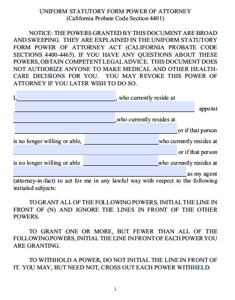 Free California Durable Statutory Power of Attorney Form – Durable Power of Attorney Forms