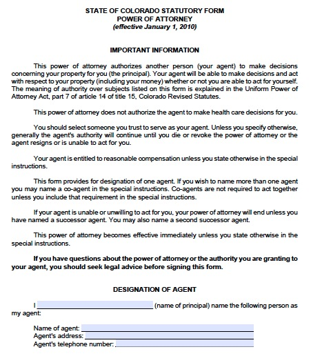 Free Colorado Power Of Attorney Forms And Templates - Durable power of attorney template