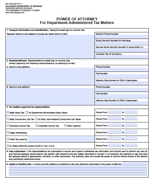 Free Colorado Tax Power Of Attorney Form DR 0145