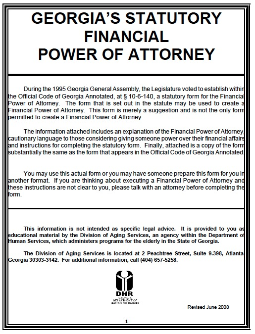 Free Georgia Durable Power Of Attorney Form  Pdf Template
