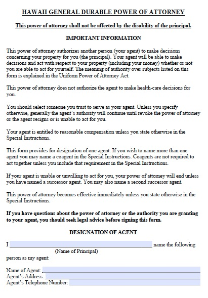 Free Hawaii Durable Financial Power Of Attorney Form  Pdf Template