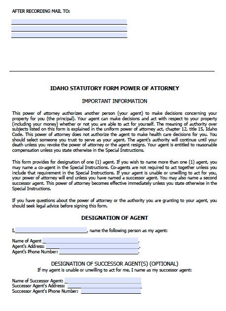 Free Idaho Durable Power Of Attorney Form – Pdf Template
