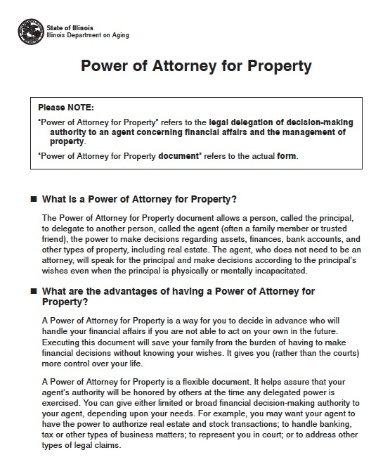 Free Illinois Durable Power of Attorney Short Form PDF – Sample Durable Power of Attorney Form