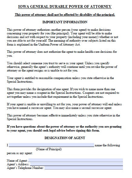 Free Iowa Durable Power of Attorney Form PDF Template – General Power of Attorney Form