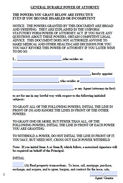 Free West Virginia Financial Power Of Attorney Form Pdf Word