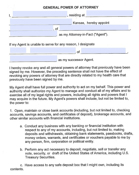 Free Kansas Durable (Financial) Power Of Attorney Form – Pdf