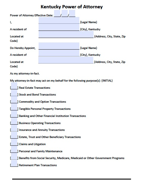 Free Kentucky Power Of Attorney Forms And Templates