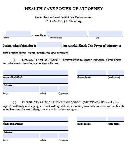 Free Maine Medical Power Of Attorney Form Pdf Template