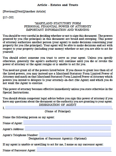 Free Maryland Durable Financial Power Of Attorney Form Pdf Template