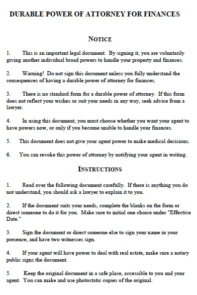 Free Michigan Durable Financial Power Of Attorney Form – Pdf