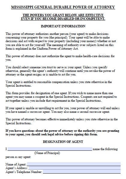 This is a picture of Printable Power of Attorney Form pertaining to rental agreement