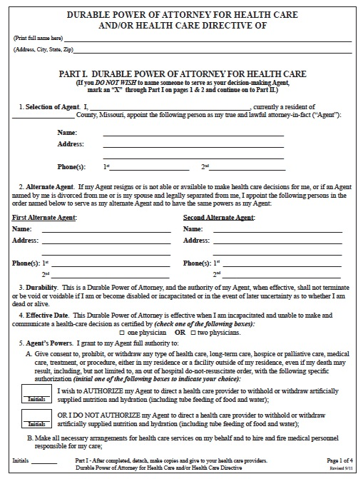 Health Care Power Of Attorney Form | Free Missouri Medical Power Of Attorney Form Pdf Template