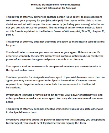 Free Montana Power Of Attorney Forms And Templates