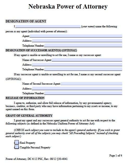 power of attorney form 33  Free Nebraska Power of Attorney Forms and Templates