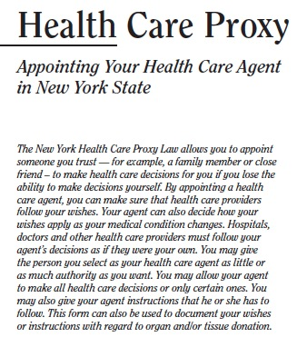Medical Proxy Form. Free New York Health Care Power Of Attorney