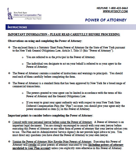 Free New York Durable Financial Power Of Attorney Form – Pdf Template