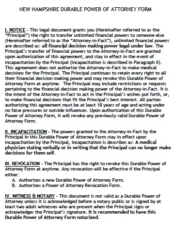 Free New Hampshire Durable Financial Power Of Attorney Form  Pdf