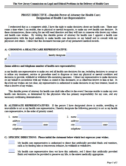 Free New Jersey Medical Power Of Attorney Form  Pdf