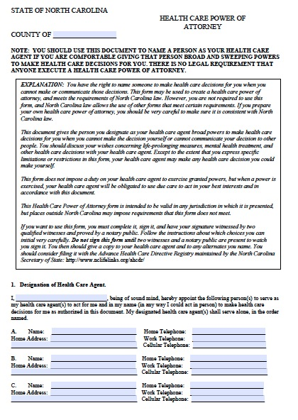 Free North Carolina Medical Power Of Attorney Form  Pdf Template