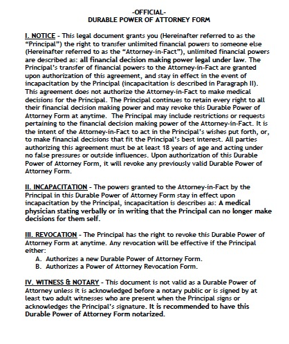 Free Oregon Durable Financial Power Of Attorney Form  Pdf Template