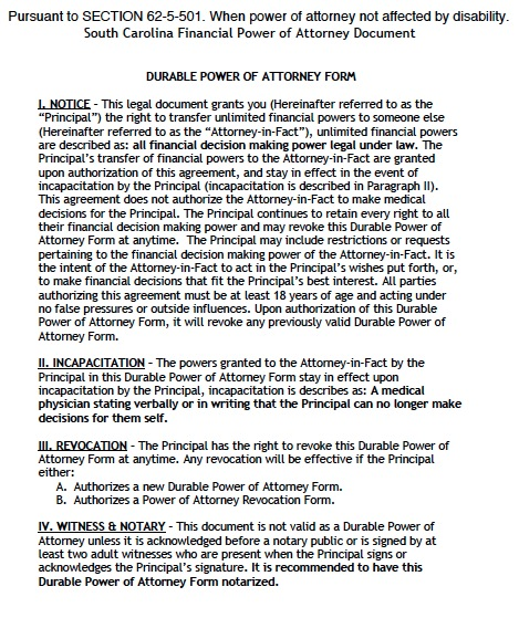 Free South Carolina Durable Financial Power Of Attorney Form  Pdf