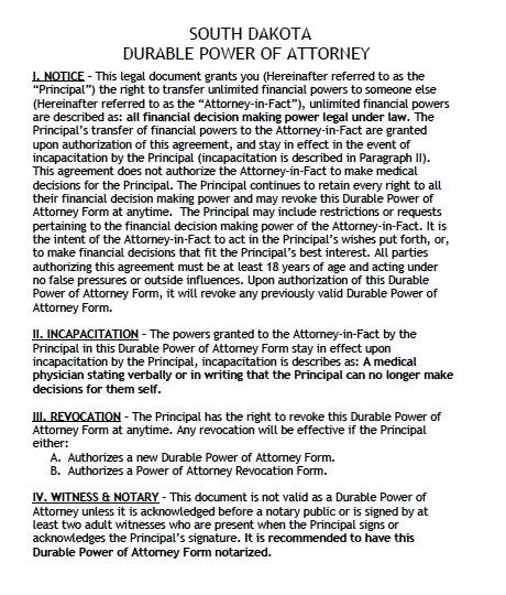 South Dakota Financial Power of Attorney