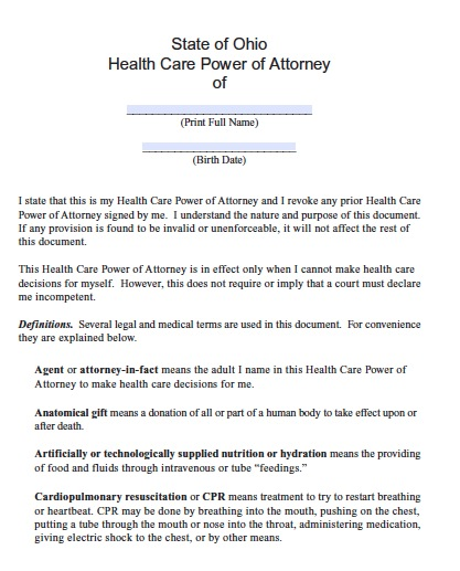 Free ohio medical power of attorney form pdf template for Ohio living will template