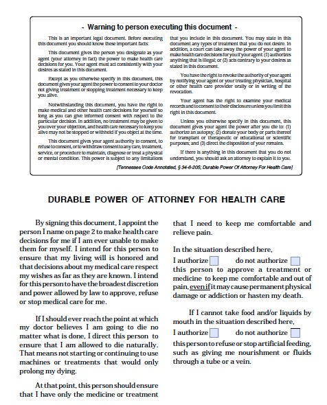 Free Tennessee Power Of Attorney For Health Care Form  Pdf Template