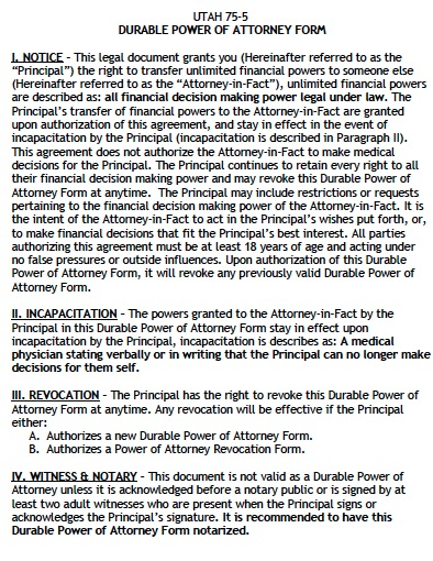 Free Utah Durable Financial Power Of Attorney Form Pdf