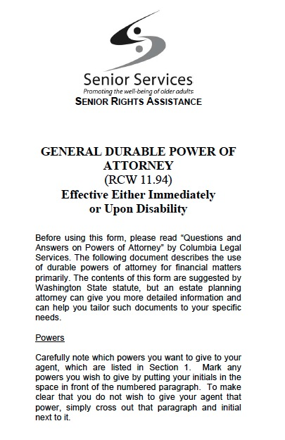 Impeccable image in free printable power of attorney form washington state