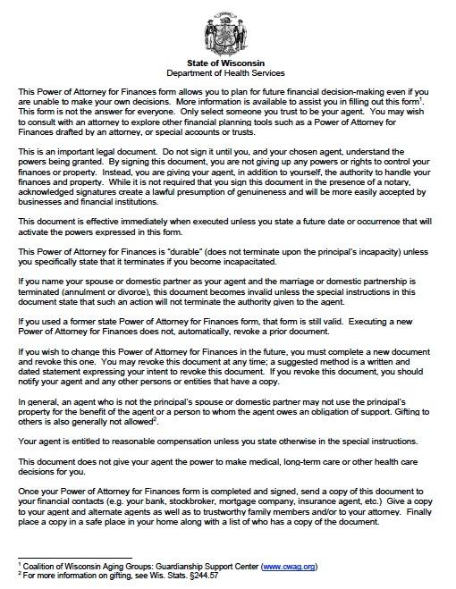 Free Wisconsin Statutory Financial Power Of Attorney Pdf Template